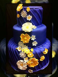 Dark purple with light green flowers