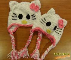 usanka hello kitty Baby Jogger, Girl With Hat, Hello Kitty, Diy And Crafts, Winter Hats, Crochet Hats, Children, Inspiration, Girls Hats