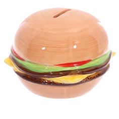 Novelty Fast Food Burger Money Box. Ceramic Money Box with a slot in the top and a rubber bung on the bottom  Dimensions: Height 8.5cm Width 11.5cm Depth 11.5cm  Delivery prices available on Checkout ​