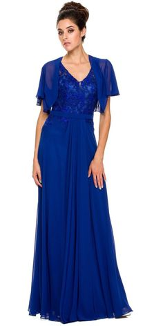 Full Length A-Line Beautiful Evening Dresses has V Neck, Floral Lace Embellished Top with V Open Semi-Sheer Back, Zipper Closure, Softly Gathered, Flowing Long Skirt. Vintage Formal Dresses, Long Formal Gowns, A Line Evening Dress, Evening Dresses, Gown With Jacket, Bolero Jacket, Royal Blue Gown, Buy Dress, Occasion Dresses