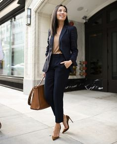 20 Cute Navy For Women Work Outfits Business Casual Outfits, Office Outfits, Chic Outfits, Fashion Outfits, Fashion Blogs, Work Outfits, Fashion Trends, Workwear Fashion, Office Fashion