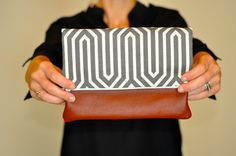 Leather and Charcoal Print Fold Over Clutch from Salato