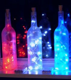 Lighted wine bottle ideas... i drink enough wine for this