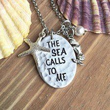 """Buy """"The Sea Calls To Me"""" Necklace With 2 Charms in Aluminum by Charmed Elements Jewelry on OpenSky"""