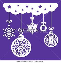 Christmas decoration for laser cutting. Cutout paper with snowflakes and balls isolated on blue background. Window decor. Vector illustration, stencil for scrapbooking. Laser cut silhouette.