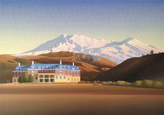 The chateau Ruapehu New Zealand Landscape, New Zealand Art, Nz Art, European Paintings, Contemporary Artwork, Vintage Travel Posters, Art Market, Traditional Art, Land Scape