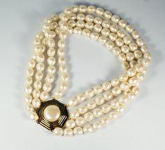 Vintage YSL Yves Saint Laurent Runway Statement Multi Strand Pearl Necklace #YSL #YvesSaintLaurent #PearlNecklace