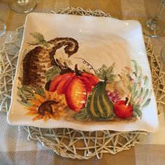 """Maxcera  """"Beautiful Watercolor"""" Painted Pumpkin Cornucopia 8 1/2"""" dish/plate New #Maxcera"""