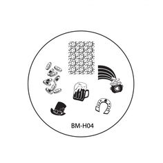 2013 Holiday Nail Stamping Plate BMH04 - Luck of the Irish == beer stein template