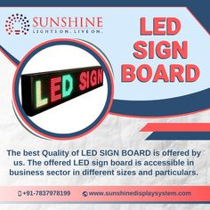 Choose from the wide range of high quality LED display boards according to the location and optimal requirements only at Sunshine Display System. Led Display Board, Led Sign Board, Serial Port, Led Signs, Business Signs, Allotment, Banks, Sunshine, Presentation