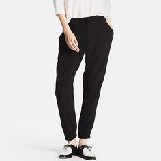 WOMEN DRAPE JOGGER PANTS, BLACK