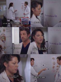 Greys anatomy Callie & Derek. Funny quotes. Gotta love greys.