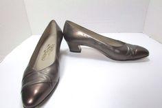 Ferragamo Pewter Calf Leather Brown  Dress Pumps Size US 7 B  #Ferragamo…