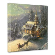 Sunday Evening Sleigh Ride – x Gallery Wrapped Canvas - Thomas Kinkade Studios Gallery Wraps are perfect for any space. Each wrap is crafted with our premium canvas reproduction techniques and hand wrapped around a Kinkade Paintings, Art Thomas, Thomas Kinkade, Image Notes, Horse Drawn, Discount Travel, Amazing Art, Wrapped Canvas, Wrapping