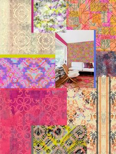 Liz Nehdi's collage of work by Maureen Lyttle, Kimberly Schmidt, Susanne Kasielke, Patrick Moriarty + Lisa Quick. More images at http://liznehdi.com/blog #MaureenLyttle #KimberlySchmidt #SusanneKasielke #PatrickMoriarty #LisaQuick #LizNehdi #LizNehdiStudio #Pattern #Print #TextileDesign