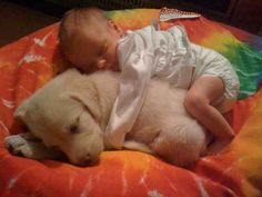 This baby and puppy spoon sesh.