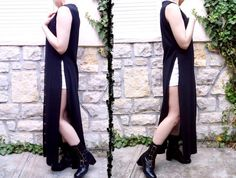 90s Gothic Black Maxi Robe -> Thigh High Slits # Vintage Long Duster Maxi Vest ~ Semi Sheer Goth Grunge Normcore Festival Dress For Sexy Witches