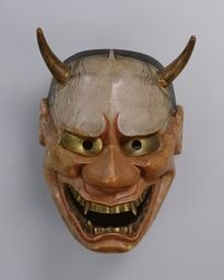 Noh mask, Kanawa (a vengeful woman) one of 47 Noh masks formerly owned by Konparu Sōke (the leading family of the Konparu school), Wood, colored Muromachi-Meiji period/15-19th century Originally owned by Konparu-za. Tokyo National Museum.