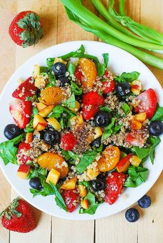 ((*QUINOA SALAD*)) ~~Here is another delicious Summer salad: Quinoa salad with spinach, strawberries, blueberries, peaches, mandarin oranges in a homemade Balsamic vinaigrette dressing. It's full of fiber, nutrients, and even protein (from quinoa)! This recipe is vegetarian, vegan, gluten free, healthy, and just plainly delicious!