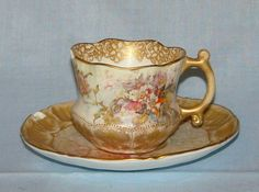 Antique (Royal) Doulton Burslem Elegant DEMITASSE CUP & SAUCER~1886 Mark-Chipped #DoultonBurslem
