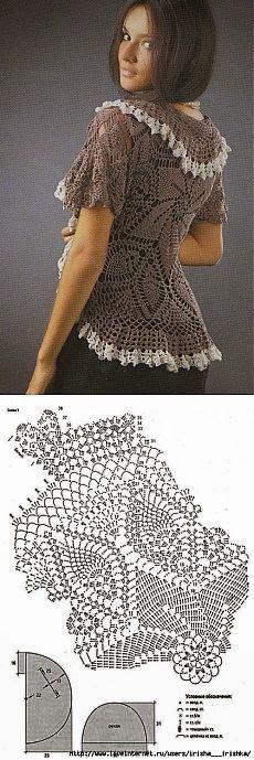 Blusa al crochet con diseño circular y volados en dos tonos con patron