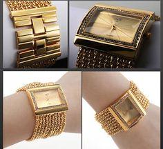 7d4e047da17 Luxury Chain Women s Female Bracelet Wrist Watch Golden Color Band Dial  Quartz H in Jewelry   Watches