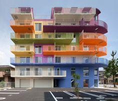ciel rouge creation injects bold colors into okazaki building  colors  Architektonický Design 317e8a5587