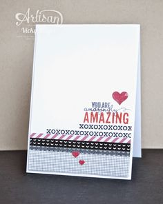Stacked with Love DSP adds darling accents to this card.  We love how she cut out the rows of X's and O's.  How Clever!