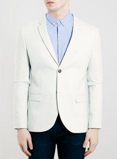 Ice green Skinny Fit Jersey Blazer