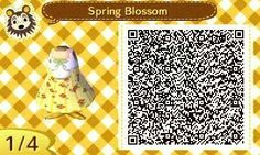 ACNL QR Code: Yellow Spring Blossom Dress