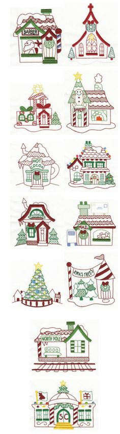 Embroidery | Free machine embroidery designs | North Pole Village Colorwork 2