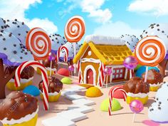 Cartoon World Sweet Candy Photography Backdrops Studio Background Photo Backdrops Studio Props Cupcake Photography, Candy Photography, Photography Backdrops, Product Photography, Digital Photography, Candy Images, Candy House, Vinyl Wallpaper, Background For Photography