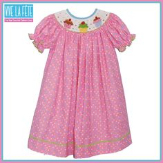 NEW ARRIVAL! Cupcakes Smocked Girls Bishop Dress!