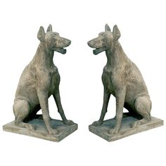 Antique Pair of Cast Stone Garden Statuary Dogs | From a unique collection of antique and modern statues at https://www.1stdibs.com/furniture/building-garden/statues/