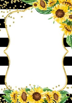 Sunflower Birthday Parties, Sunflower Party, Sunflower Baby Showers, Flower Background Images, Flower Backgrounds, Borders For Paper, Borders And Frames, Invitation Background, Sunflower Wallpaper