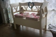 Wooden storage bench Decor, Furniture, Shabby Chic, House, Toddler Bed, Home Decor, Bed, Wooden Storage Bench, Wooden Storage