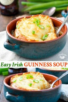 Easy Guinness Irish Soup My favorite easy recipe for French Onion Soup gets an Irish twist in this Guinness Irish Soup — just in time for St. Patrick's Day! Easy Irish Recipes, Easy Dinner Recipes, Soup Recipes, Vegetarian Recipes, Easy Meals, Dinner Ideas, Cooking Recipes, Lemon Recipes, Easy Cooking