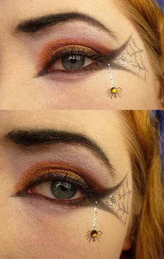 DIY Halloween Makeup : Spiderweb Eye - great idea for Halloween PTA / PTO party.
