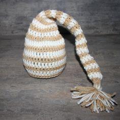 Crochet Cream & Brown Elf Hat - Newborn Baby Photography Prop