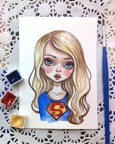 Supergirl  Watercolor postcard  Sold out  #supergirl #illustration #artstagram #comics #watercolorart #postcard