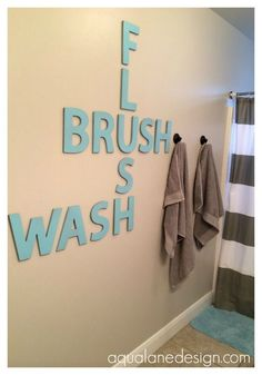 Half bathroom ideas and they're perfect for guests. They don't have to be as functional as the family bathrooms, so hope you enjoy these ideas. Update your bathroom decor quickly with these budget-friendly, charming half bathroom ideas # bathroom Deco Scrabble, Scrabble Letters, Diy Letters, Design Letters, Scrabble Tiles, Wood Letters, Ideas Baños, Decor Ideas, Hanging Letters