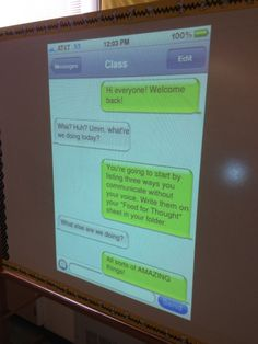 Create fake text to display your morning message to your class each day. Would love this if I was still teaching middle school. Teacher Tools, Teacher Resources, Classroom Organization, Classroom Management, Computer Lab Organization, Beginning Of School, Middle School, School Classroom, Classroom Ideas