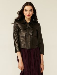 Leather Bow Jacket by Robert Rodriguez on Gilt.com