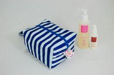 Blue Stripe Ripstop Medium Wash Box Bag  by LottieDeanBags on Etsy