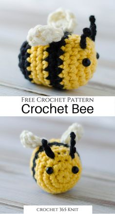 dolls couture I love him. This bee, that is! Isnt he cute? I had so much fun crocheting him. Ive added some fun touches to make this guy just right and I think youll enjoy this crochet b Crochet Stitches Free, Diy Crochet And Knitting, Crochet Amigurumi Free Patterns, Crochet Animal Patterns, Crochet Basics, Crochet Blanket Patterns, Crochet Crafts, Crochet Bee Applique, Diy Crochet Projects