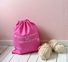 Funny pink knitting bag  Kelly Connor by KellyConnorDesigns, $17.15