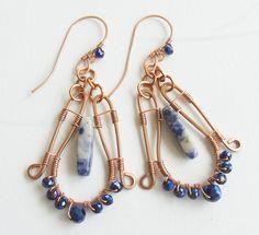 Lapis Lazuli Blue Gemstone Crystals Copper Wire Wrap Unique Earrings http://www.bonanza.com/listings/190647667