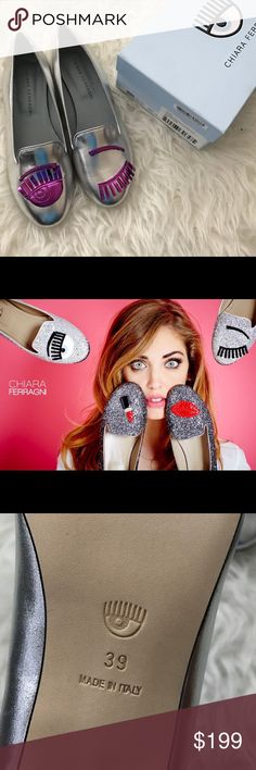 Chiara Ferragni Shoes Brand New! Silver and Fuxia leather flats from Chiara Ferragni featuring a round toe, metallic sheen, branded insole, leather sole and signature winking eye appliqué detailing. The Italian fashion blogger Chiara Ferragni, of The Blonde Salad, has turned designer with her own line of high-impact footwear. The European size is 39. They come in their original box! Ships the same day (unless Sunday or holiday). No trades. Chiara Ferragni  Shoes Flats & Loafers