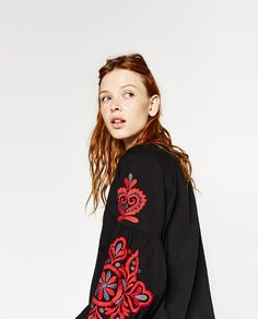 EMBROIDERED SLEEVE BLOUSE from Zara