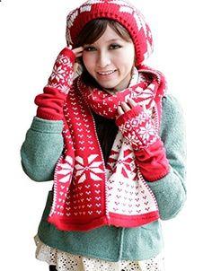 Winter 3pc Women Knitted Scarf Beanie Hat Cap Fingerless Long Gloves Set. More description on the website.